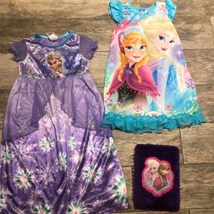 2 Frozen Size 6 Nightgowns and a  Frozen Journal
